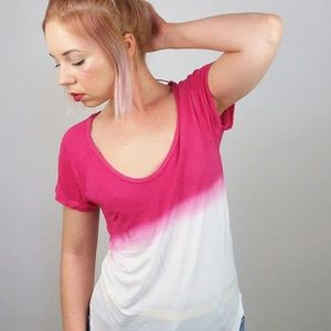 Zara Collection Pink White Ombré T- Shirt Vintage